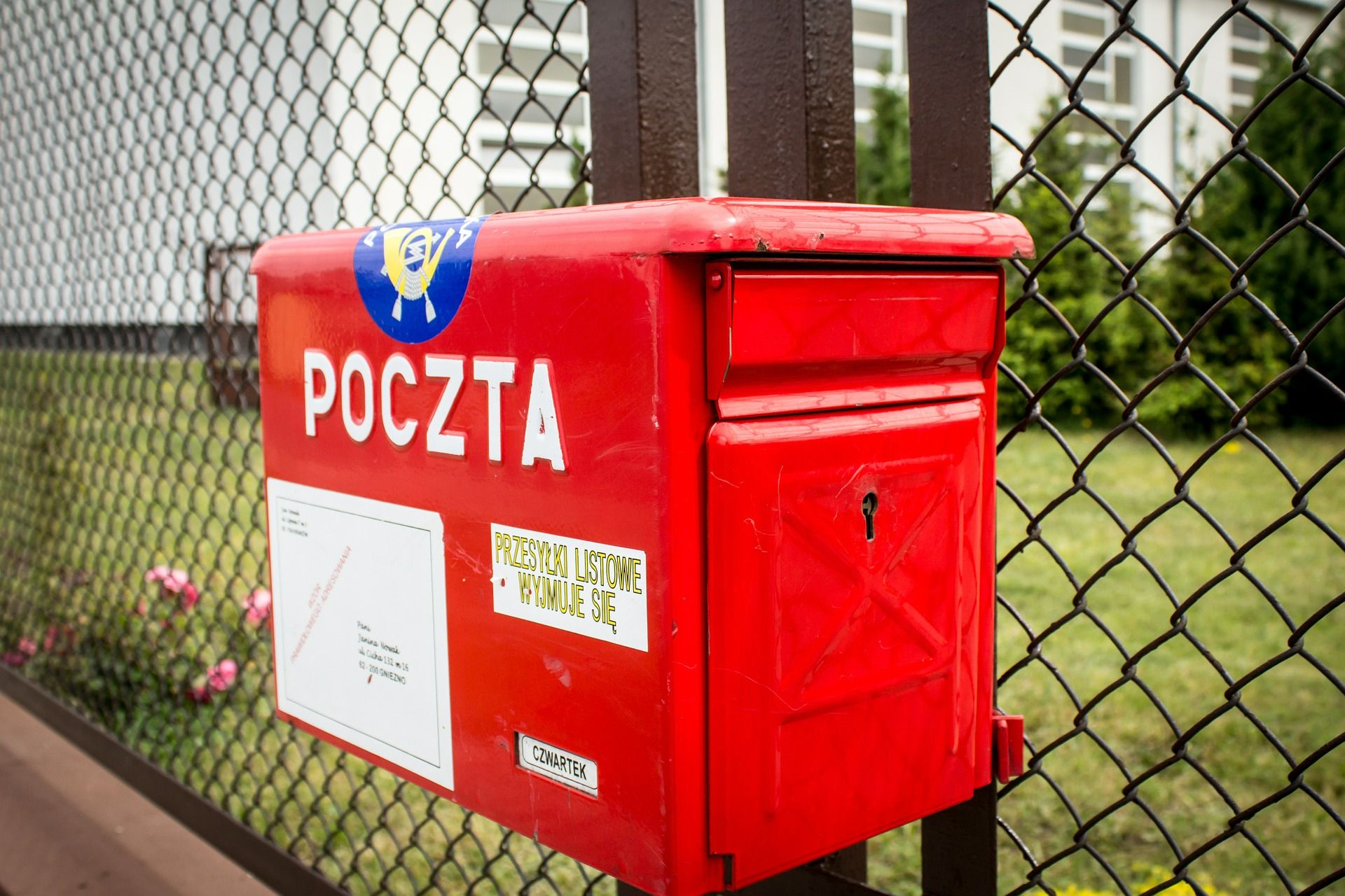Image of a red Polish mailbox.