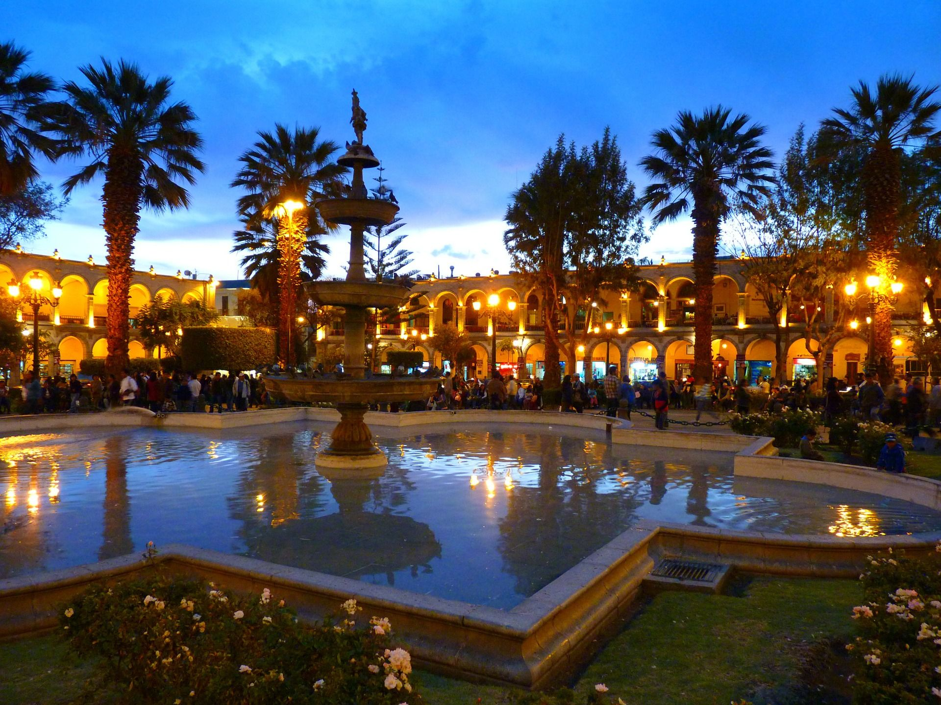 Dusk photo of the city center in Arequipa, Peru