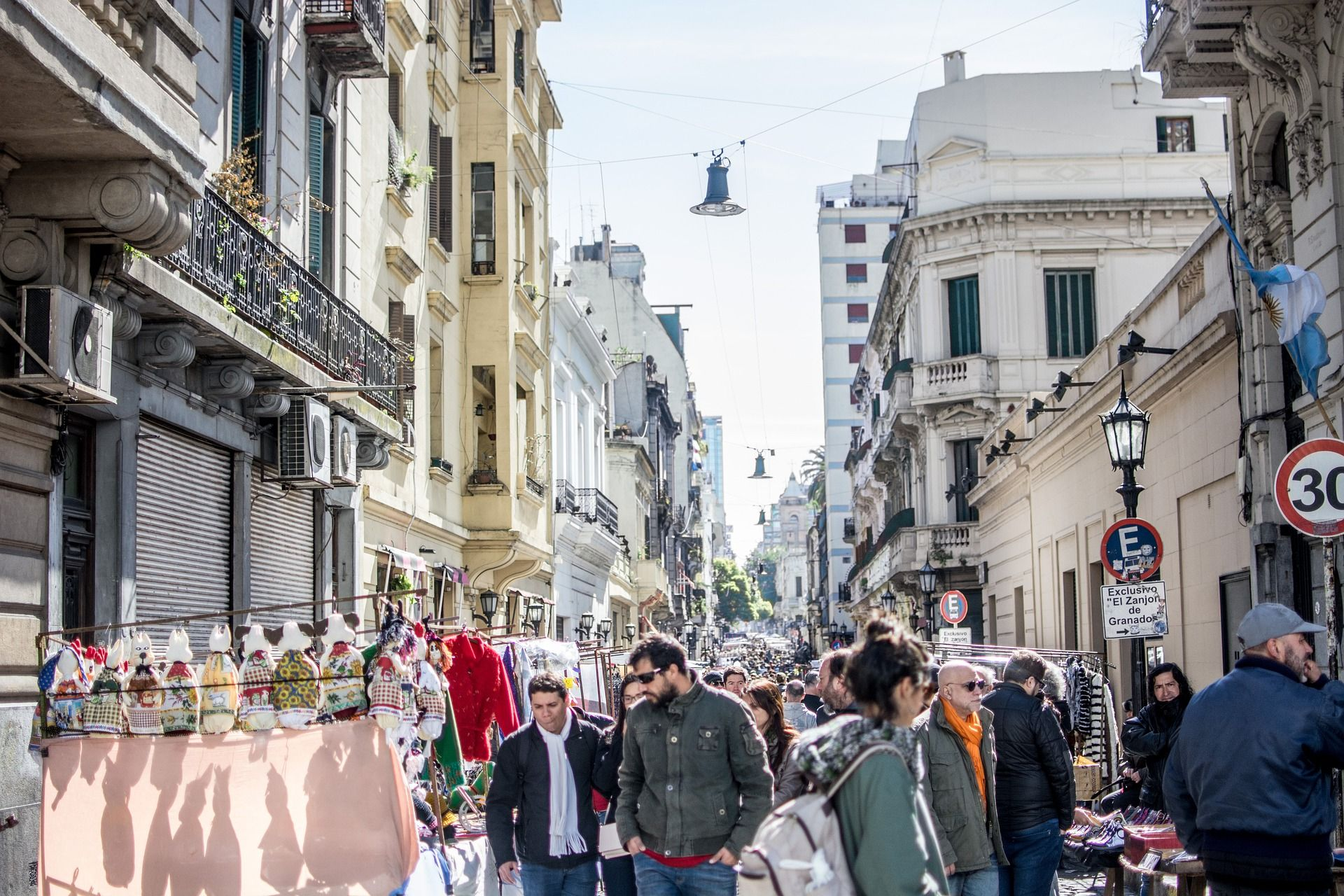 Busy street full of pedestrians in Buenos Aires, Argentina