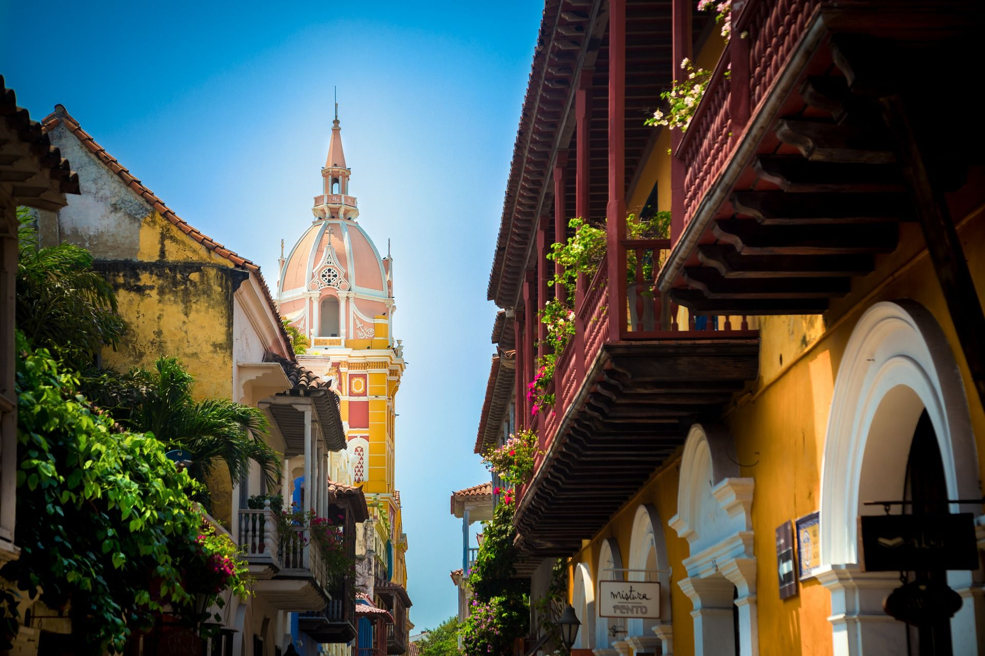 Colorful buildings in Cartagena, Colombia