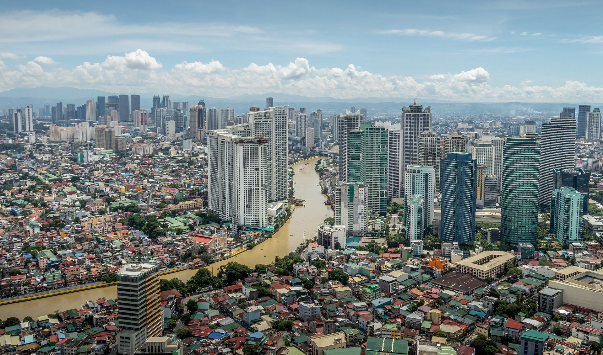 Skyline view of Manila in the Philippines