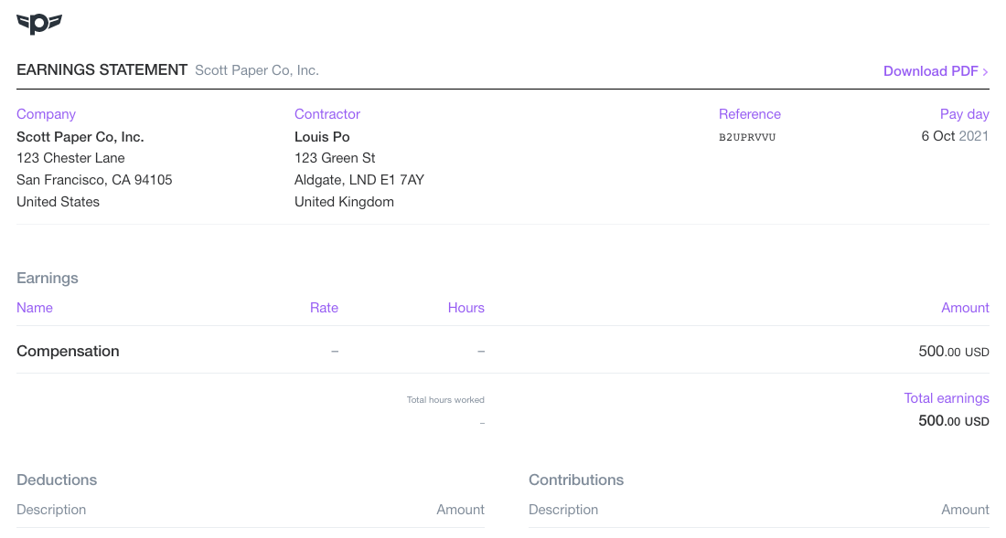 Screenshot of part of a sample paystub
